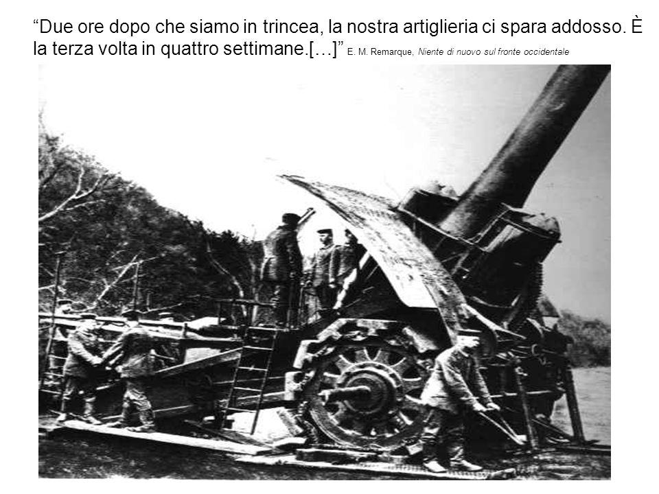 Due ore dopo che siamo in trincea, la nostra artiglieria ci spara addosso. È la terza volta in quattro settimane.[…] E. M. Remarque, Niente di nuovo s