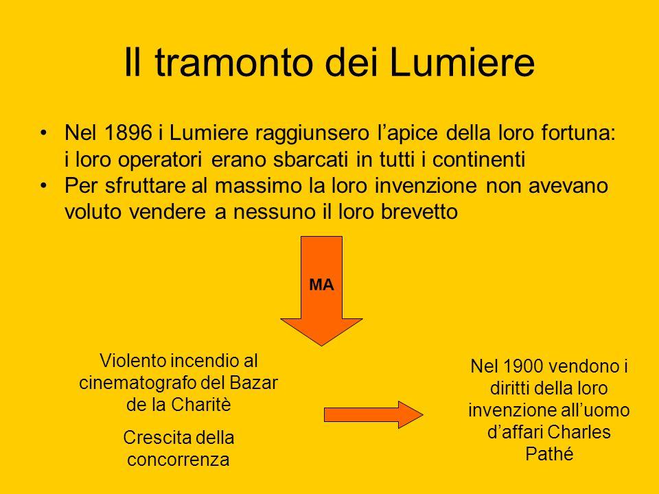 Il tramonto dei Lumiere Nel 1896 i Lumiere raggiunsero lapice della loro fortuna: i loro operatori erano sbarcati in tutti i continenti Per sfruttare