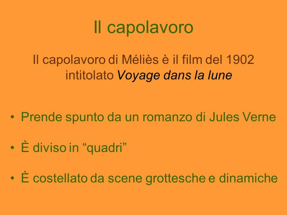 Il capolavoro Il capolavoro di Méliès è il film del 1902 intitolato Voyage dans la lune Prende spunto da un romanzo di Jules Verne È diviso in quadri