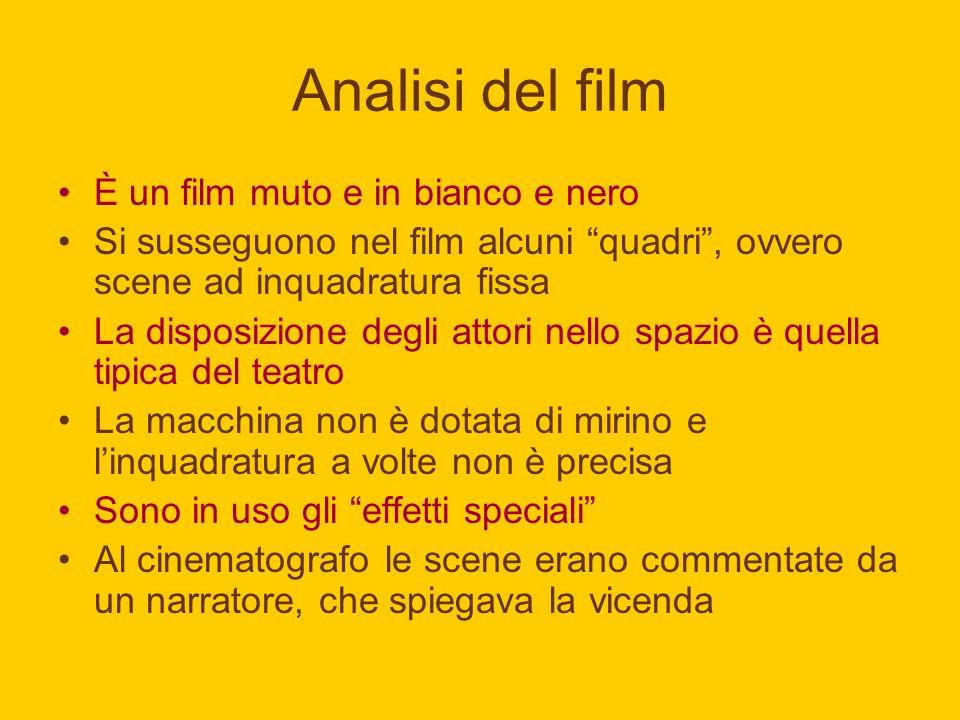 Analisi del film È un film muto e in bianco e nero Si susseguono nel film alcuni quadri, ovvero scene ad inquadratura fissa La disposizione degli atto
