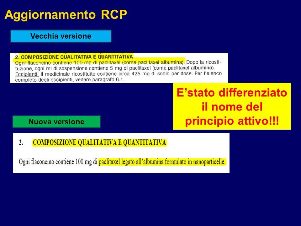 Aggiornamento RCP Estato differenziato il nome del principio attivo!!! Vecchia versione Nuova versione Vecchia versione