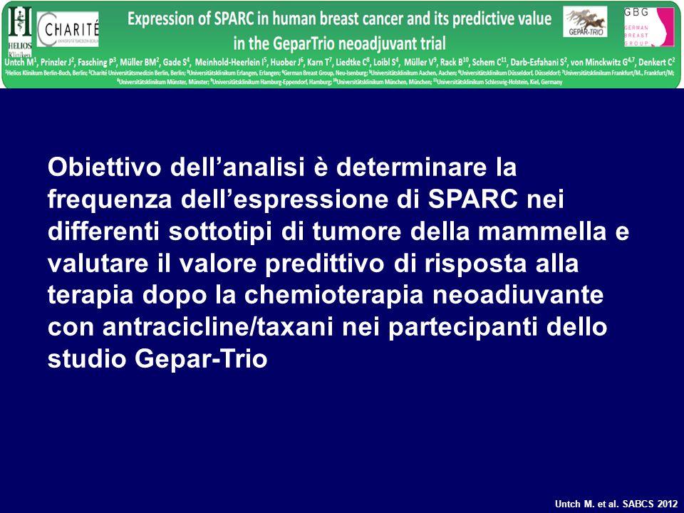 Obiettivo dellanalisi è determinare la frequenza dellespressione di SPARC nei differenti sottotipi di tumore della mammella e valutare il valore predi