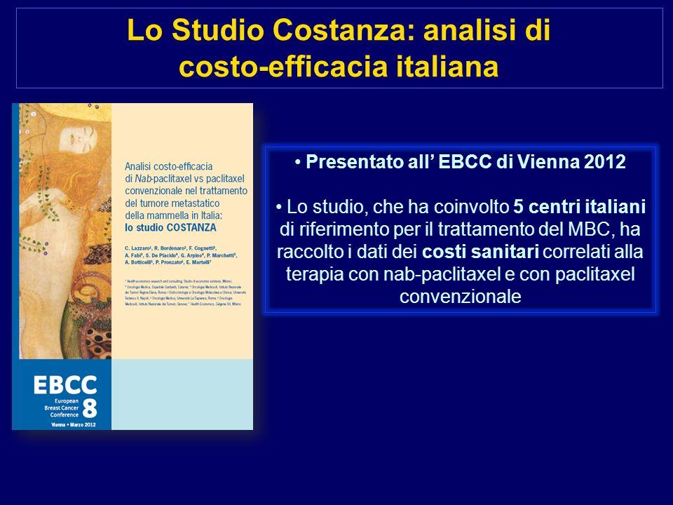 Lo Studio Costanza: analisi di costo-efficacia italiana Presentato all EBCC di Vienna 2012 Lo studio, che ha coinvolto 5 centri italiani di riferiment