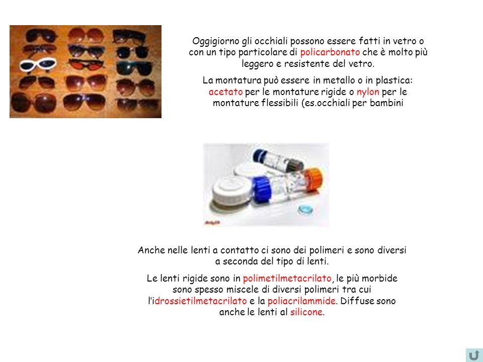 Oggigiorno gli occhiali possono essere fatti in vetro o con un tipo particolare di policarbonato che è molto più leggero e resistente del vetro. La mo