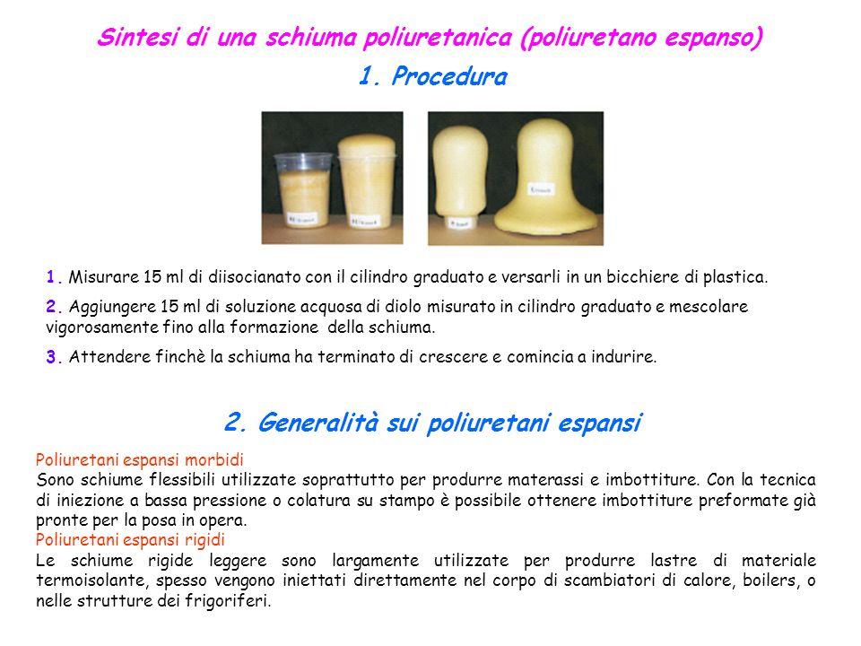 Sintesi di una schiuma poliuretanica (poliuretano espanso) 1. Procedura Poliuretani espansi morbidi Sono schiume flessibili utilizzate soprattutto per