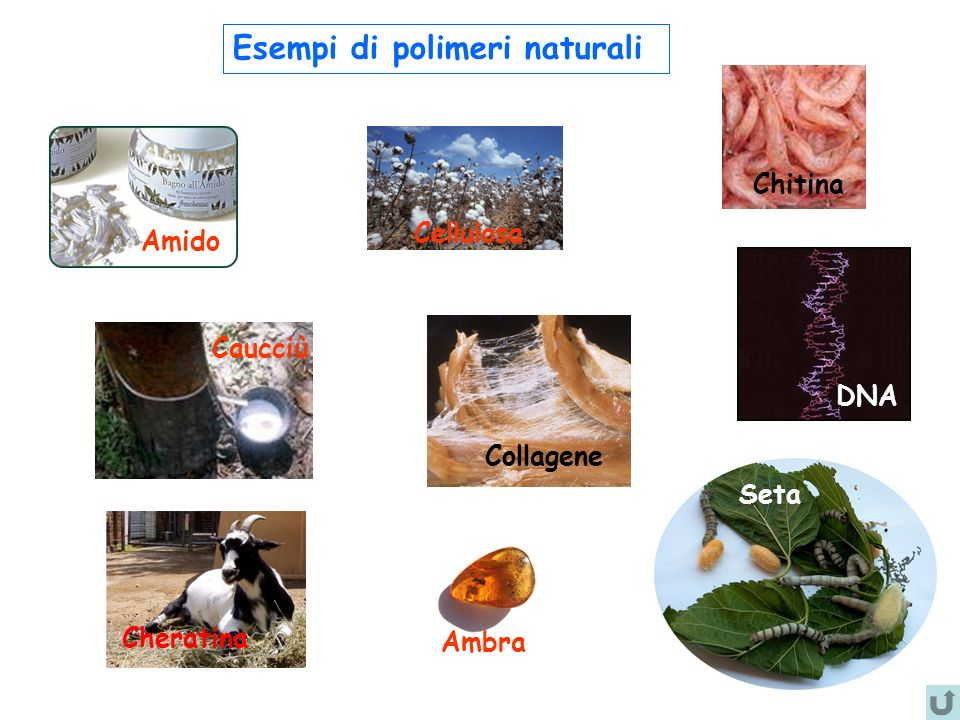Esempi di polimeri sintetici Nylon Polistirene (PS) Polietilentereftalato (PET) Teflon Polietilene (HDPE, LDPE) Polipropilene (PP) Polivinilcloruro (PVC) ABS Poliestere Poliuretano Policarbonato Epossidi Silicone
