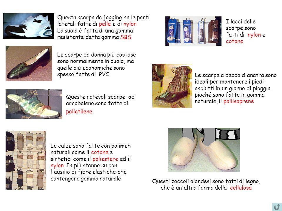 Questa scarpa da jogging ha le parti laterali fatte di pelle e di nylon La suola è fatta di una gomma resistente detta gomma SBS I lacci delle scarpe