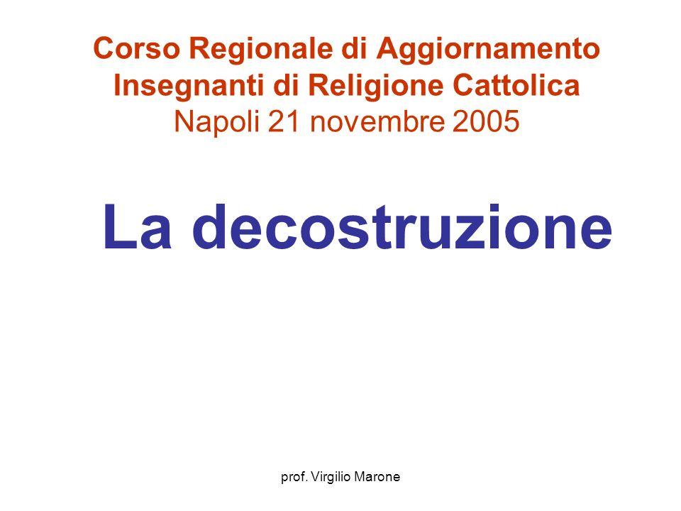 prof. Virgilio Marone Corso Regionale di Aggiornamento Insegnanti di Religione Cattolica Napoli 21 novembre 2005 La decostruzione