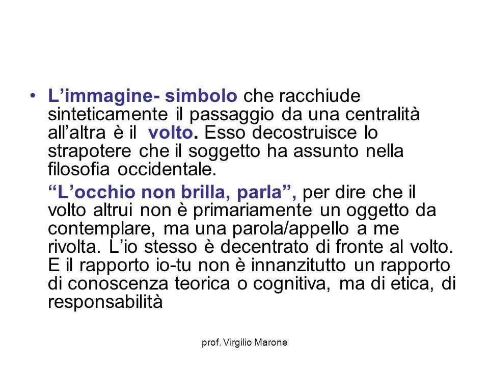 prof. Virgilio Marone Limmagine- simbolo che racchiude sinteticamente il passaggio da una centralità allaltra è il volto. Esso decostruisce lo strapot