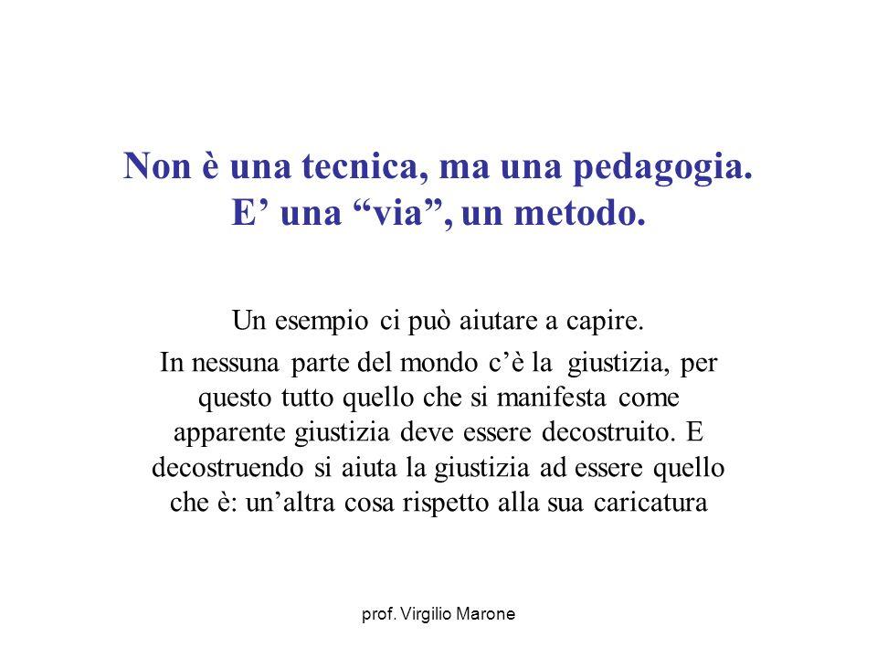 prof. Virgilio Marone Non è una tecnica, ma una pedagogia. E una via, un metodo. Un esempio ci può aiutare a capire. In nessuna parte del mondo cè la