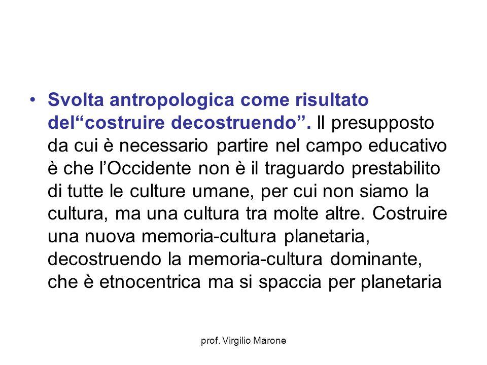 prof. Virgilio Marone Svolta antropologica come risultato delcostruire decostruendo. Il presupposto da cui è necessario partire nel campo educativo è