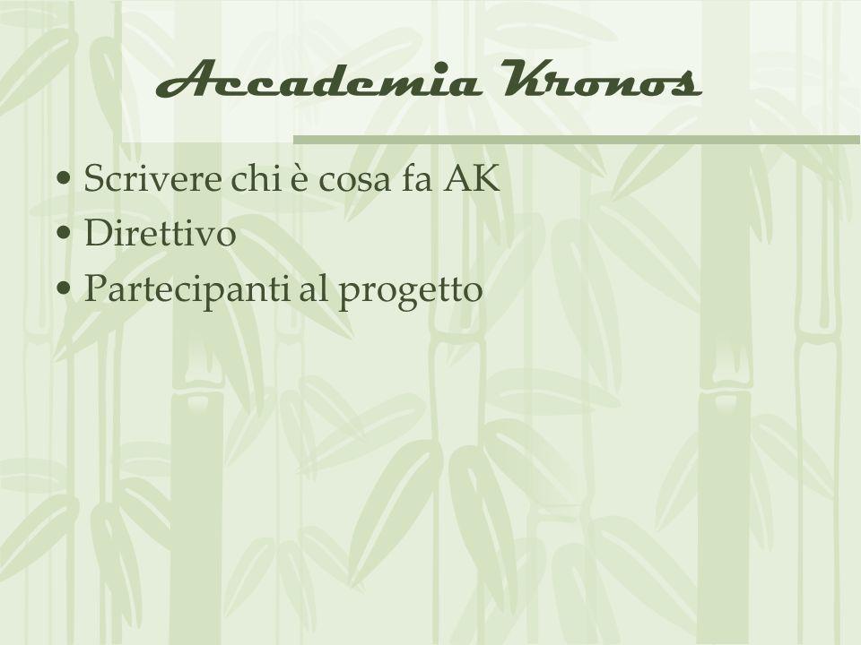 Accademia Kronos Scrivere chi è cosa fa AK Direttivo Partecipanti al progetto