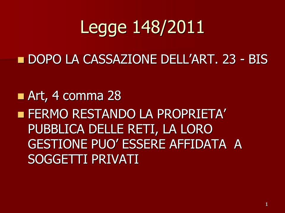 1 Legge 148/2011 DOPO LA CASSAZIONE DELLART. 23 - BIS DOPO LA CASSAZIONE DELLART. 23 - BIS Art, 4 comma 28 Art, 4 comma 28 FERMO RESTANDO LA PROPRIETA