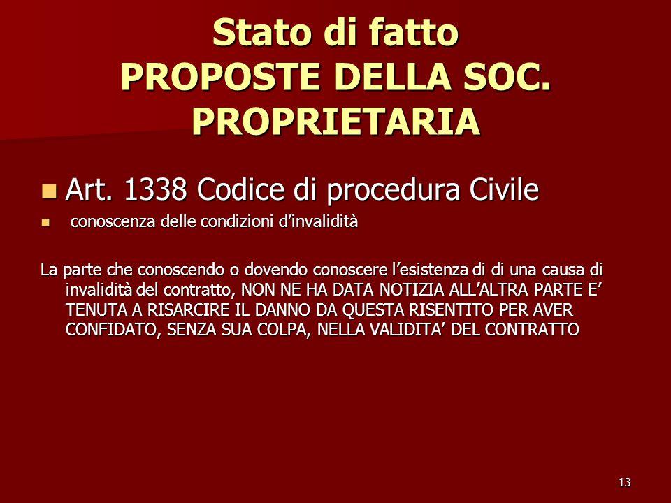 13 Stato di fatto PROPOSTE DELLA SOC. PROPRIETARIA Art. 1338 Codice di procedura Civile Art. 1338 Codice di procedura Civile conoscenza delle condizio