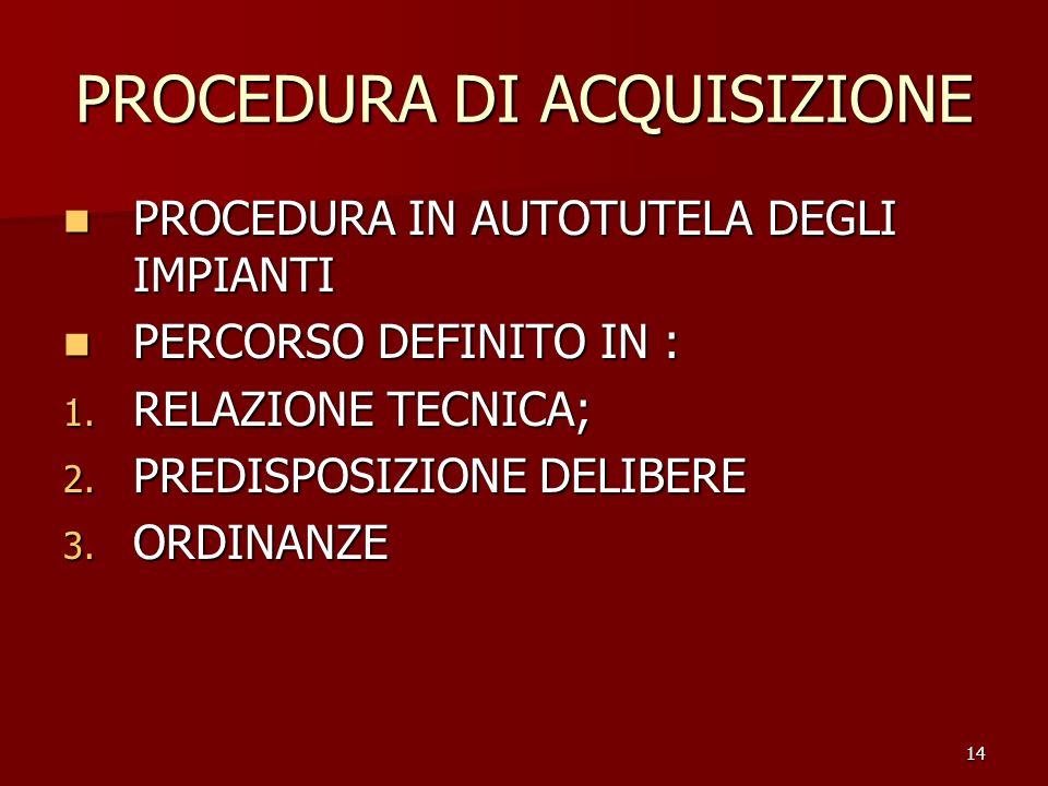 14 PROCEDURA DI ACQUISIZIONE PROCEDURA IN AUTOTUTELA DEGLI IMPIANTI PROCEDURA IN AUTOTUTELA DEGLI IMPIANTI PERCORSO DEFINITO IN : PERCORSO DEFINITO IN : 1.