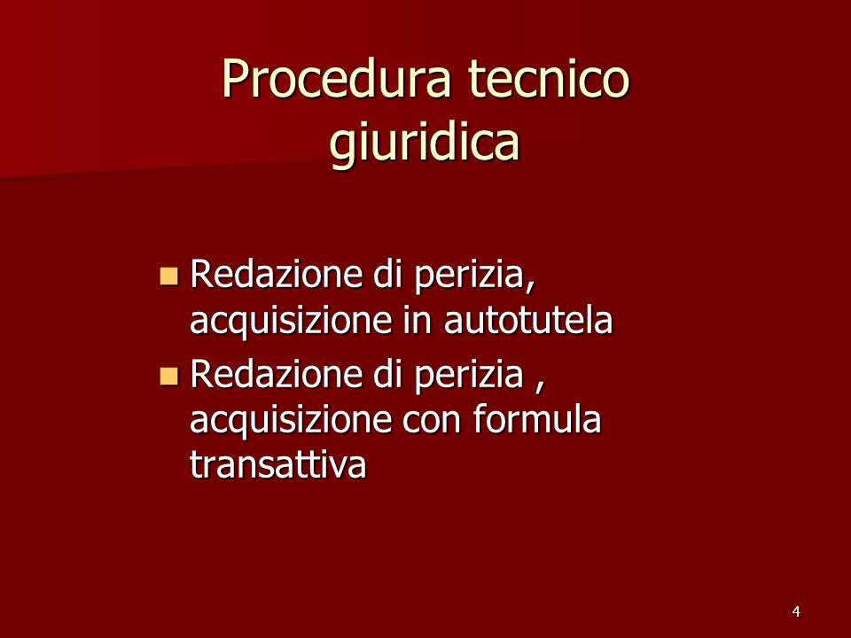 4 Procedura tecnico giuridica Redazione di perizia, acquisizione in autotutela Redazione di perizia, acquisizione in autotutela Redazione di perizia, acquisizione con formula transattiva Redazione di perizia, acquisizione con formula transattiva