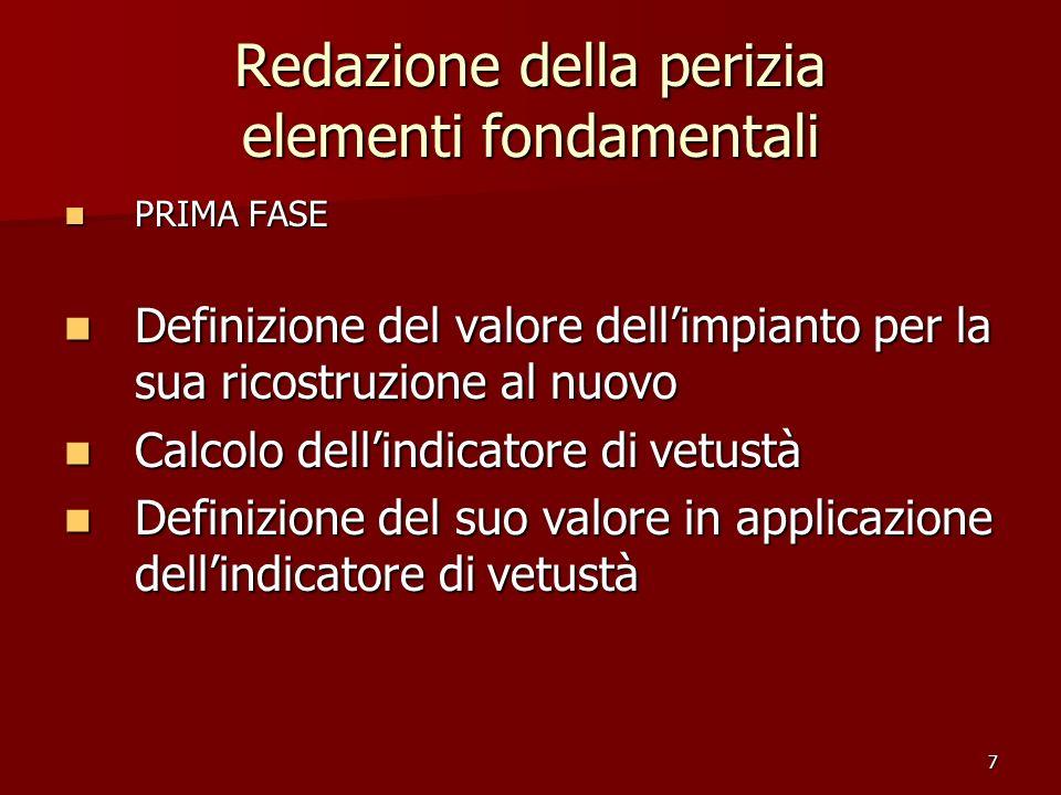 7 Redazione della perizia elementi fondamentali PRIMA FASE PRIMA FASE Definizione del valore dellimpianto per la sua ricostruzione al nuovo Definizion