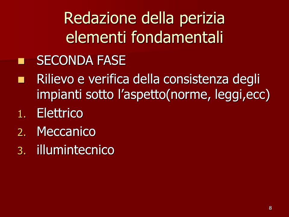 8 Redazione della perizia elementi fondamentali SECONDA FASE SECONDA FASE Rilievo e verifica della consistenza degli impianti sotto laspetto(norme, le