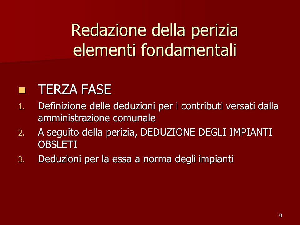 9 Redazione della perizia elementi fondamentali TERZA FASE TERZA FASE 1. Definizione delle deduzioni per i contributi versati dalla amministrazione co
