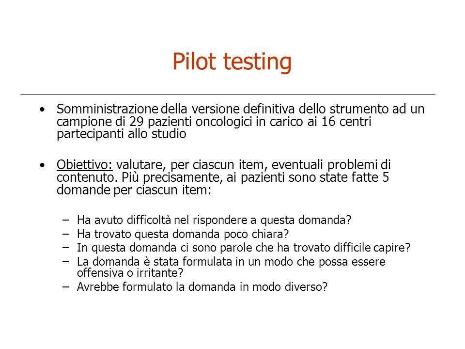 Pilot testing Somministrazione della versione definitiva dello strumento ad un campione di 29 pazienti oncologici in carico ai 16 centri partecipanti