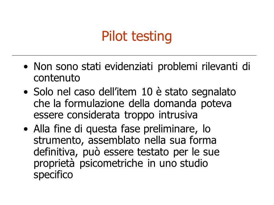 Pilot testing Non sono stati evidenziati problemi rilevanti di contenuto Solo nel caso dellitem 10 è stato segnalato che la formulazione della domanda