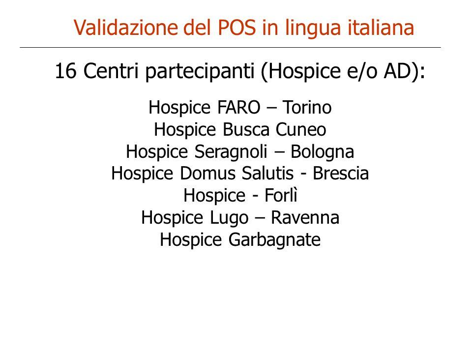 Validazione del POS in lingua italiana 16 Centri partecipanti (Hospice e/o AD): Hospice FARO – Torino Hospice Busca Cuneo Hospice Seragnoli – Bologna
