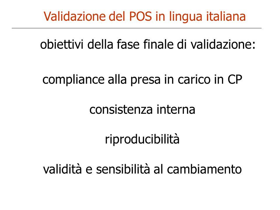 Validazione del POS in lingua italiana compliance alla presa in carico in CP consistenza interna riproducibilità validità e sensibilità al cambiamento