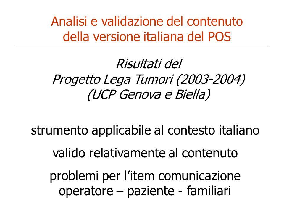 Analisi e validazione del contenuto della versione italiana del POS Risultati del Progetto Lega Tumori (2003-2004) (UCP Genova e Biella) strumento app
