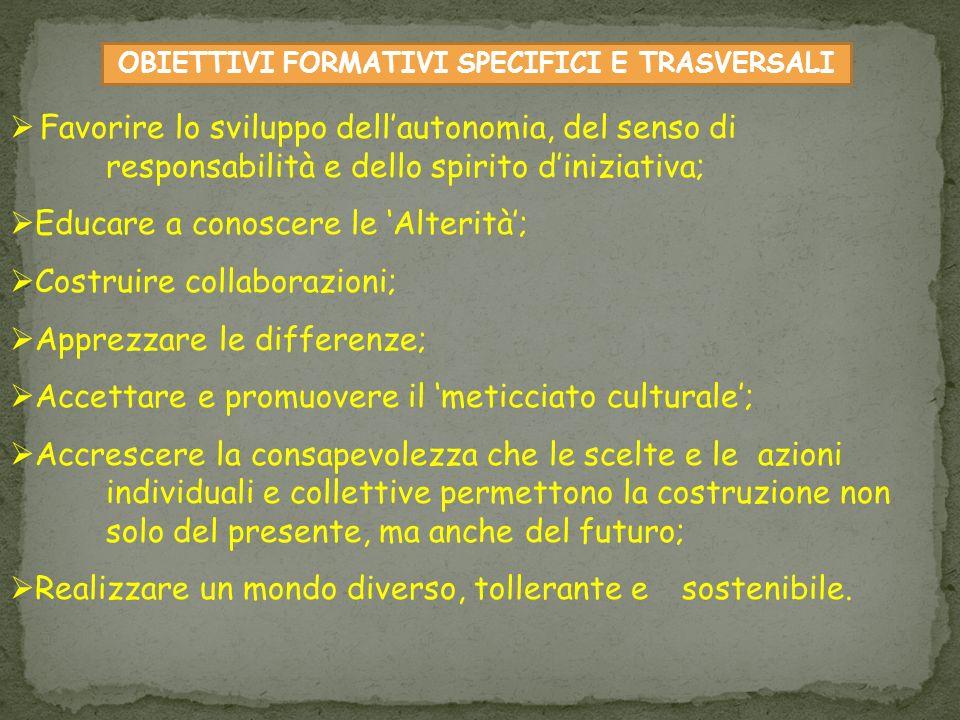 OBIETTIVI FORMATIVI SPECIFICI E TRASVERSALI Favorire lo sviluppo dellautonomia, del senso di responsabilità e dello spirito diniziativa; Educare a con