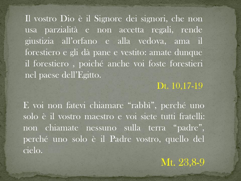 Il vostro Dio è il Signore dei signori, che non usa parzialità e non accetta regali, rende giustizia allorfano e alla vedova, ama il forestiero e gli