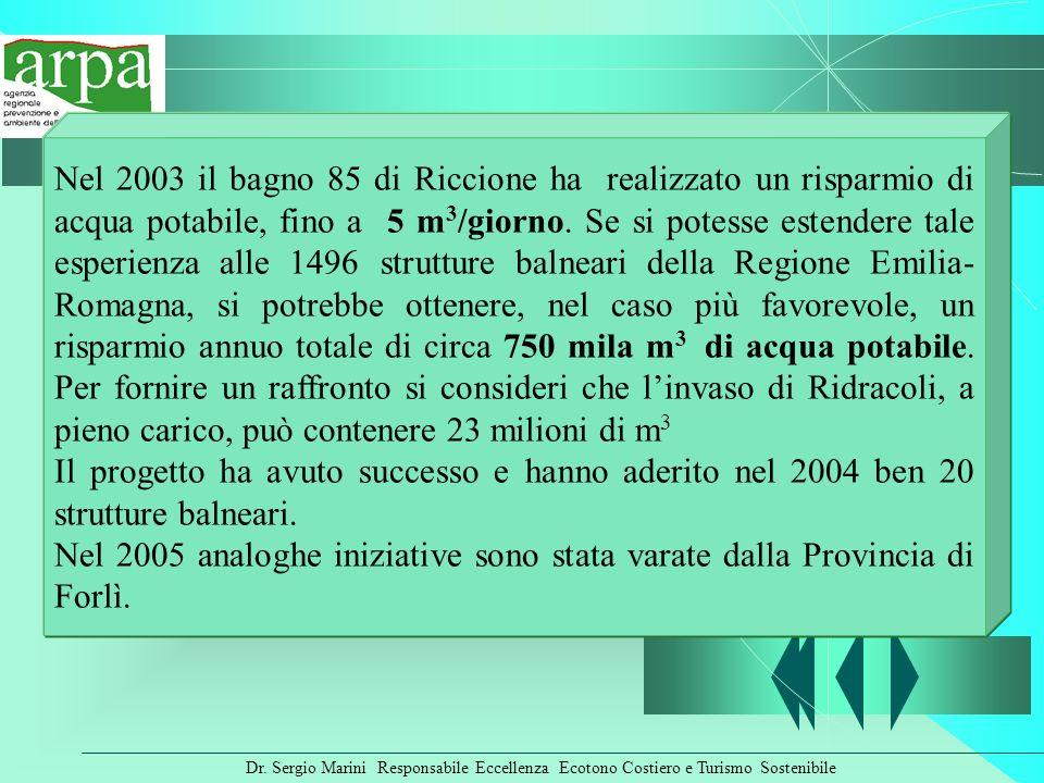 Dr. Sergio Marini Responsabile Eccellenza Ecotono Costiero e Turismo Sostenibile Nel 2003 il bagno 85 di Riccione ha realizzato un risparmio di acqua