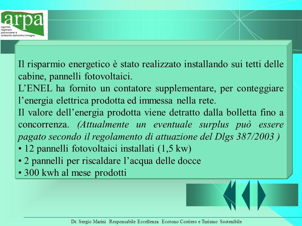 Dr. Sergio Marini Responsabile Eccellenza Ecotono Costiero e Turismo Sostenibile Il risparmio energetico è stato realizzato installando sui tetti dell