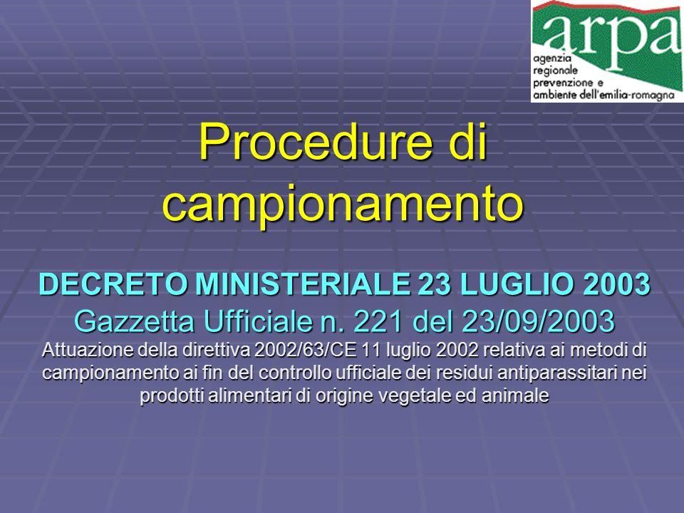 Procedure di campionamento DECRETO MINISTERIALE 23 LUGLIO 2003 Gazzetta Ufficiale n. 221 del 23/09/2003 Attuazione della direttiva 2002/63/CE 11 lugli