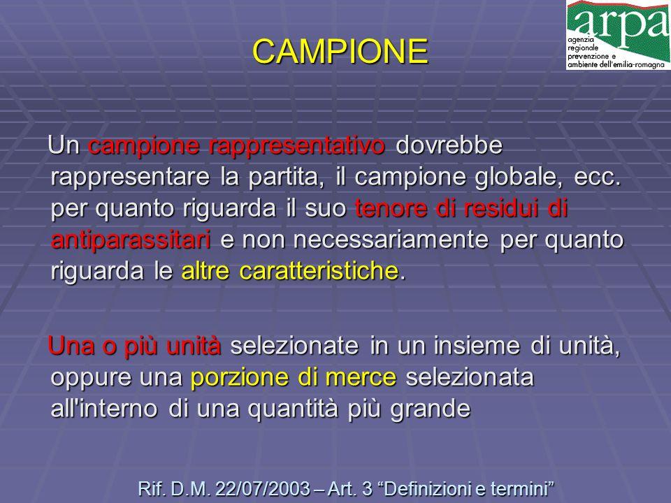 CAMPIONE Un campione rappresentativo dovrebbe rappresentare la partita, il campione globale, ecc. per quanto riguarda il suo tenore di residui di anti