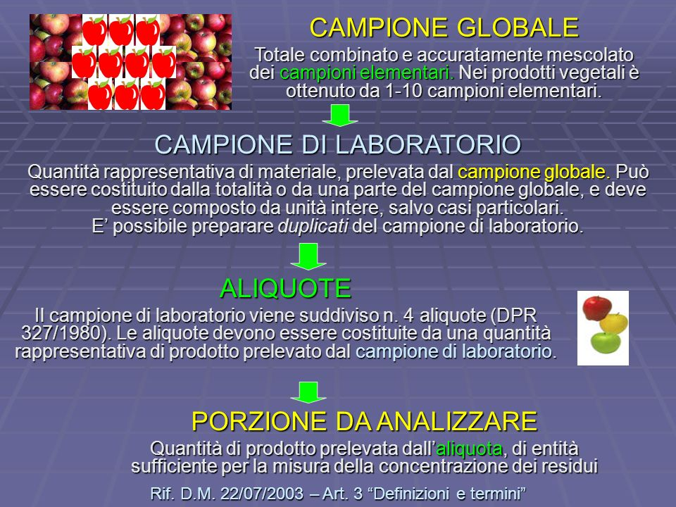 CAMPIONE DI LABORATORIO Quantità rappresentativa di materiale, prelevata dal campione globale. Può essere costituito dalla totalità o da una parte del