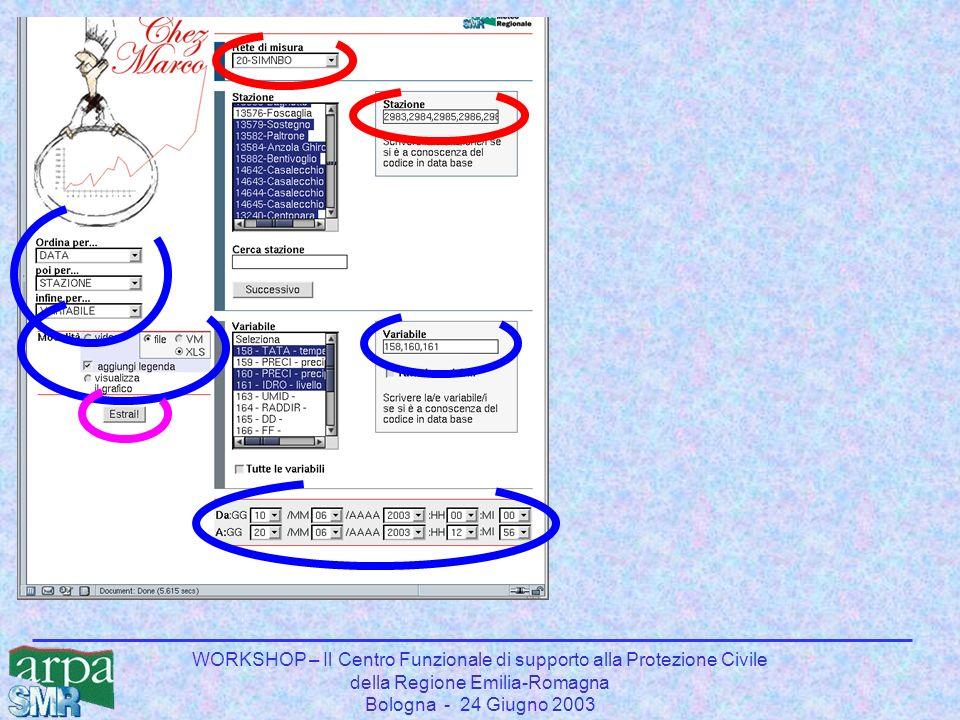 WORKSHOP – Il Centro Funzionale di supporto alla Protezione Civile della Regione Emilia-Romagna Bologna - 24 Giugno 2003