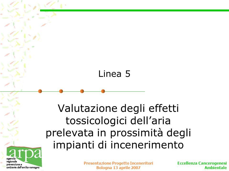 Eccellenza Cancerogenesi Ambientale Presentazione Progetto Inceneritori Bologna 13 aprile 2007 Linea 5 Valutazione degli effetti tossicologici dellari