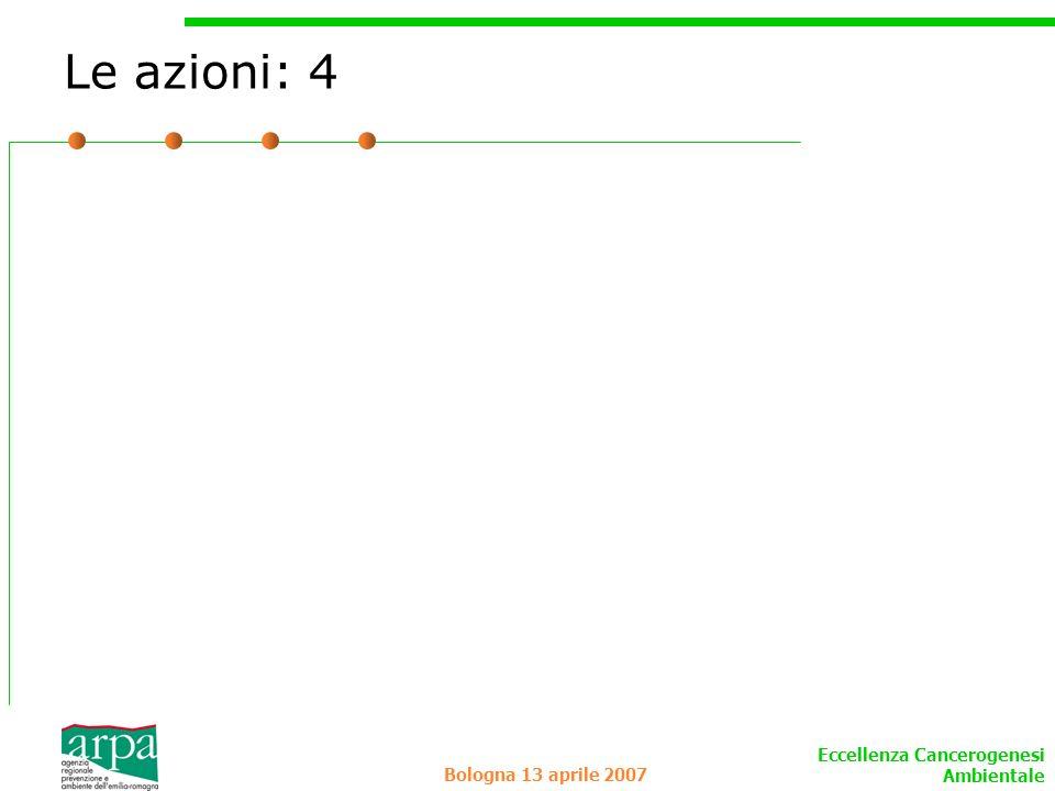 Eccellenza Cancerogenesi Ambientale Bologna 13 aprile 2007 Le azioni: 4
