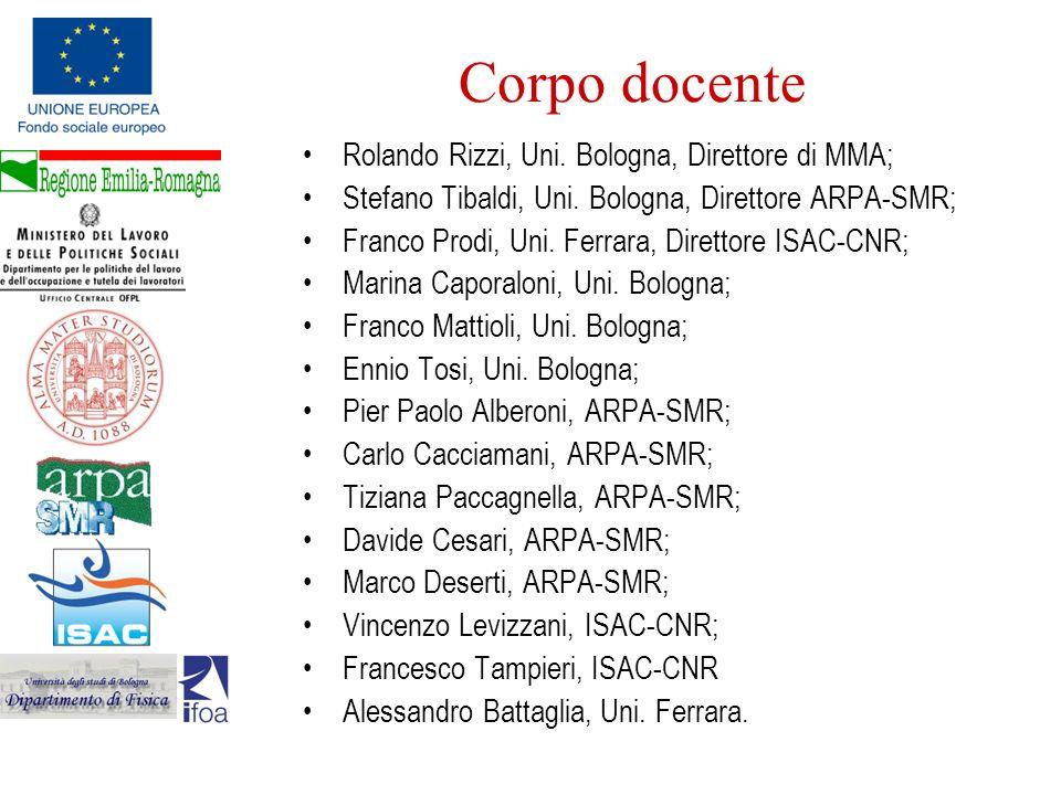 Corpo docente Rolando Rizzi, Uni. Bologna, Direttore di MMA; Stefano Tibaldi, Uni. Bologna, Direttore ARPA-SMR; Franco Prodi, Uni. Ferrara, Direttore