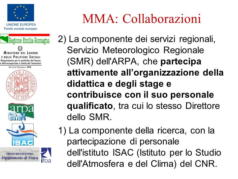 MMA: Collaborazioni 2) La componente dei servizi regionali, Servizio Meteorologico Regionale (SMR) dell'ARPA, che partecipa attivamente allorganizzazi