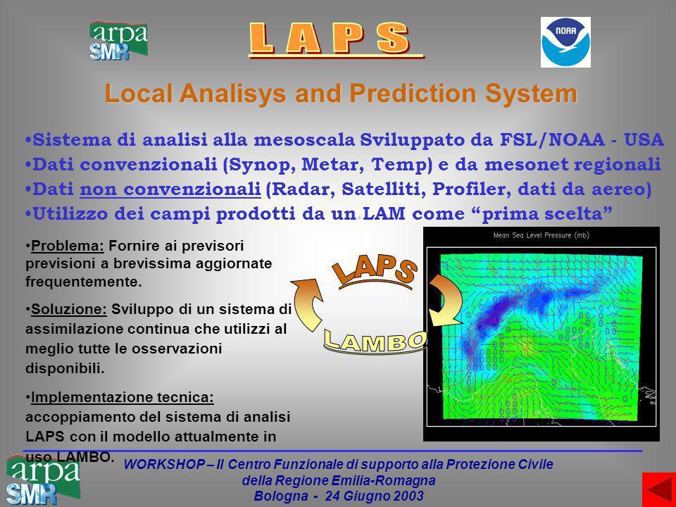 WORKSHOP – Il Centro Funzionale di supporto alla Protezione Civile della Regione Emilia-Romagna Bologna - 24 Giugno 2003 Sistema di analisi alla mesoscala Sviluppato da FSL/NOAA - USA Dati convenzionali (Synop, Metar, Temp) e da mesonet regionali Dati non convenzionali (Radar, Satelliti, Profiler, dati da aereo) Utilizzo dei campi prodotti da un.LAM come prima scelta Local Analisys and Prediction System Problema: Fornire ai previsori previsioni a brevissima aggiornate frequentemente.