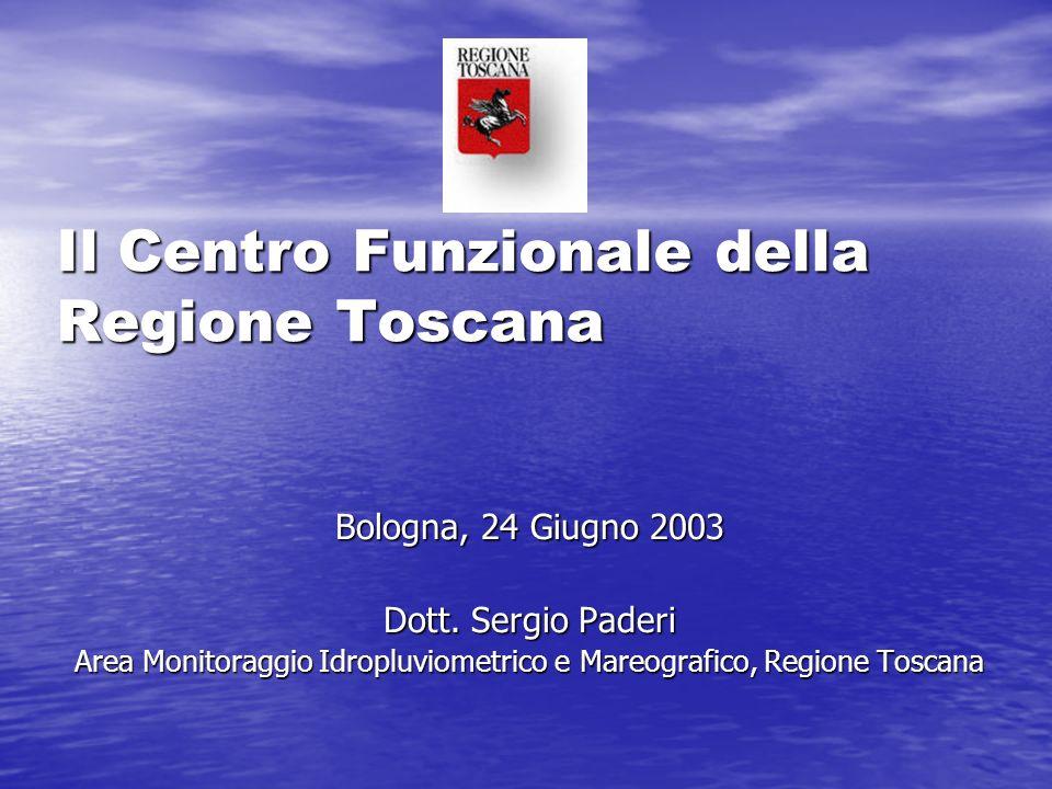 Consistenza attuale della rete in telemisura gestita dal Centro Funzionale della Toscana 331 pluviometri 103 idrometri 110 stazioni meteo