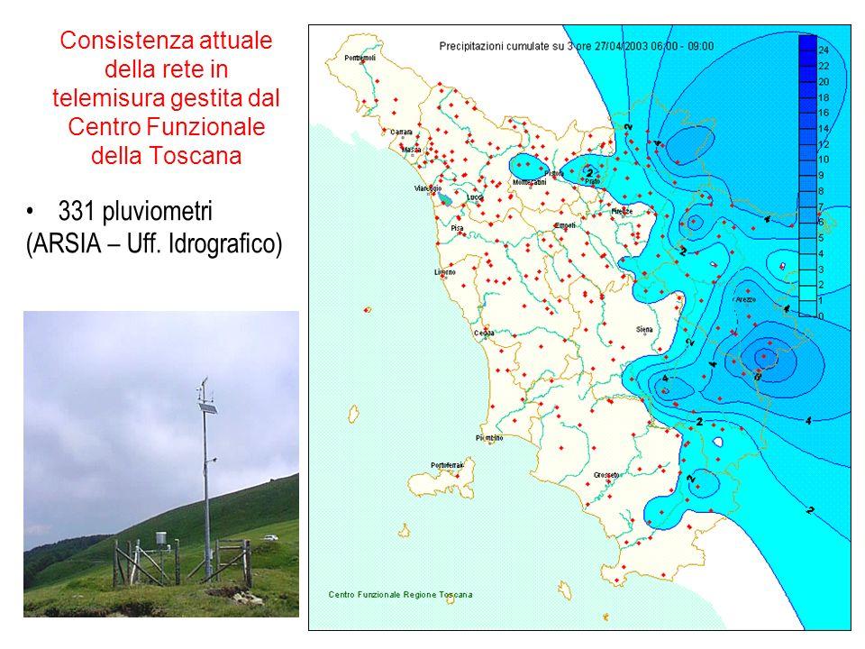 Consistenza attuale della rete in telemisura gestita dal Centro Funzionale della Toscana 331 pluviometri (ARSIA – Uff.