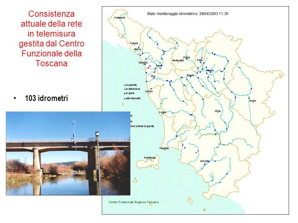 Consistenza attuale della rete in telemisura gestita dal Centro Funzionale della Toscana 103 idrometri
