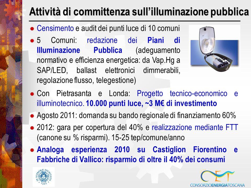 Attività di committenza sullilluminazione pubblica Con Pietrasanta e Londa: Progetto tecnico-economico e illuminotecnico.