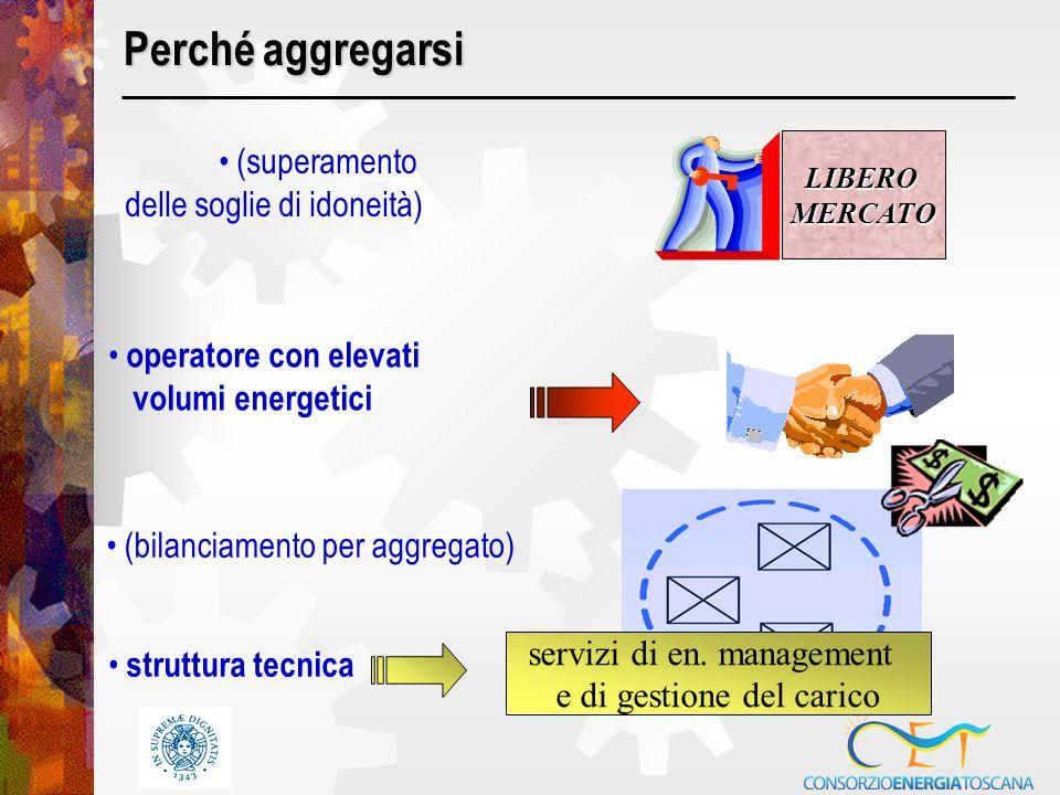 Perché aggregarsi (superamento delle soglie di idoneità) LIBERO MERCATO operatore con elevati volumi energetici struttura tecnica (bilanciamento per aggregato) servizi di en.