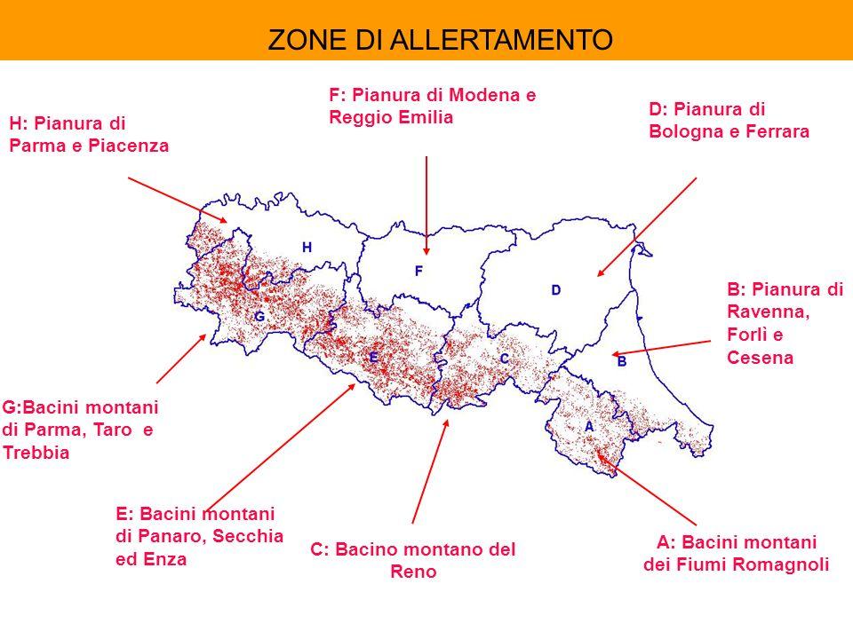 B: Pianura di Ravenna, Forlì e Cesena C: Bacino montano del Reno D: Pianura di Bologna e Ferrara E: Bacini montani di Panaro, Secchia ed Enza H: Pianu