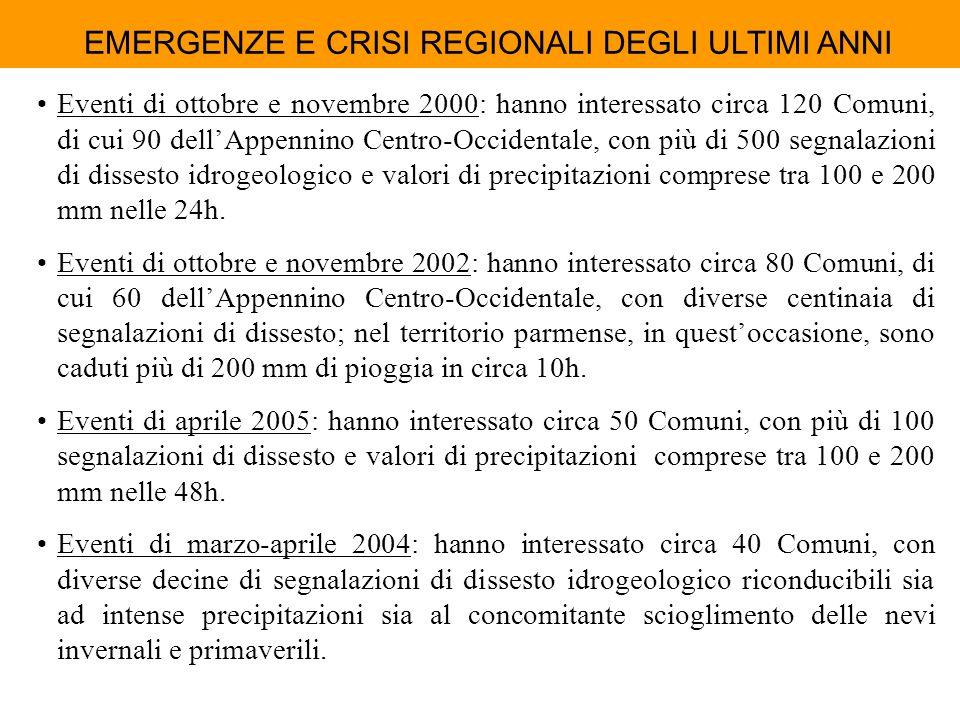 EMERGENZE E CRISI REGIONALI DEGLI ULTIMI ANNI Eventi di ottobre e novembre 2000: hanno interessato circa 120 Comuni, di cui 90 dellAppennino Centro-Oc