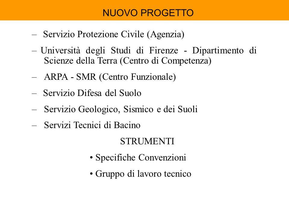 NUOVO PROGETTO – Servizio Protezione Civile (Agenzia) – Università degli Studi di Firenze - Dipartimento di Scienze della Terra (Centro di Competenza)