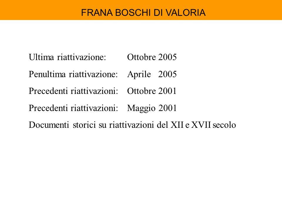 FRANA BOSCHI DI VALORIA Ultima riattivazione:Ottobre 2005 Penultima riattivazione:Aprile 2005 Precedenti riattivazioni:Ottobre 2001 Precedenti riattiv